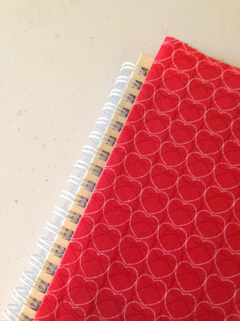 Covering a notebook with fabric
