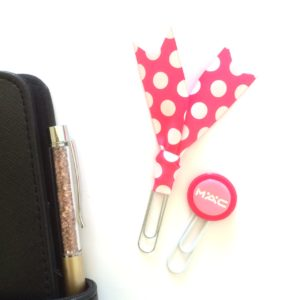 Hot pink and white planner clip set
