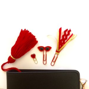 red and gold planner accessories set