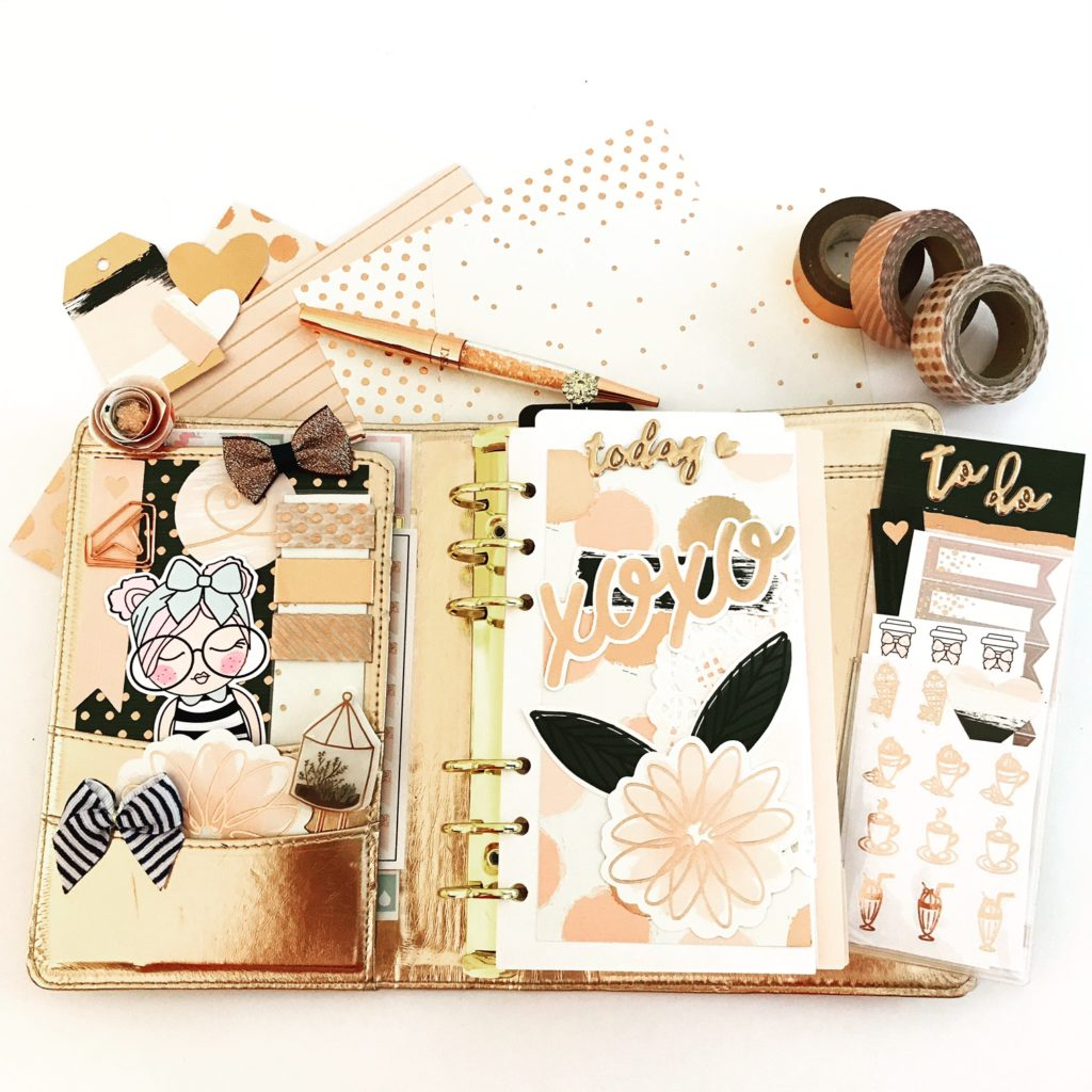 Planner decoration with scrapbooking supplies
